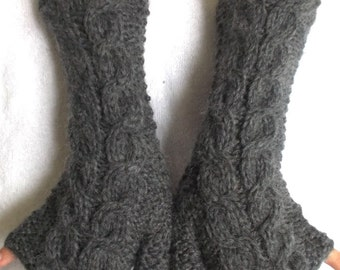 Grey Fingerless Gloves  Angora Mohair Mittens Cabled Hand Knitted Extra Soft and Warm Women Gloves