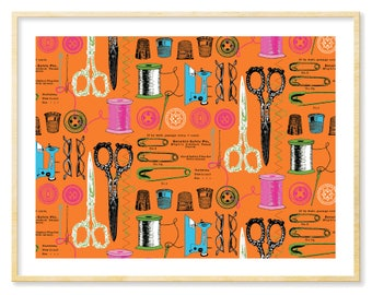 Craft Room Art, Charming Necessities, Orange, Turquoise, Teal, Graphic Art Print, Craft Room Print, Giclee Print, Gift for Crafter, 8.5x11