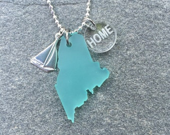 Maine Sea Glass Style Sailboat Necklace