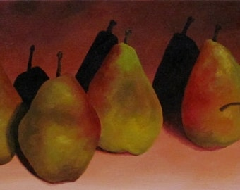 Pear Painting by CES - Still Life Fruit Original Painting Pear Wall Art Fruit Painting Pear Painting Still Life Painting Kitchen ART 20x8