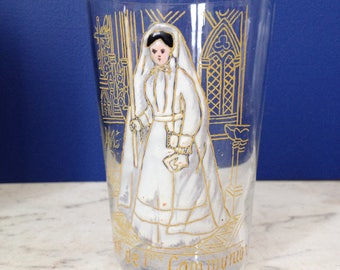 French antique Holy first communion glass tumbler. Hand made souvenir. Late 1800s