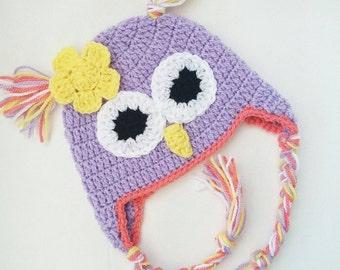 newborn hat, baby girl hat, newborn beanie, girls hat, owl hat, baby shower, baby accessories, new baby gift, baby beanie, baby hat,