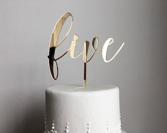 Five Cake Topper | Birthday Cake Topper | Anniversary