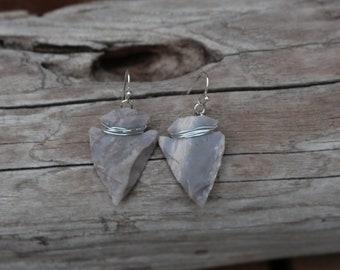 Wire Wrapped Arrowhead Earrings | Hypoallergenic