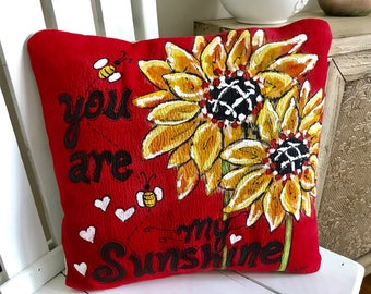 Vivid Red, You are My Sunshine, Sunflowers, Spring and Summer Flower, Hand-painted, Pillow Cover