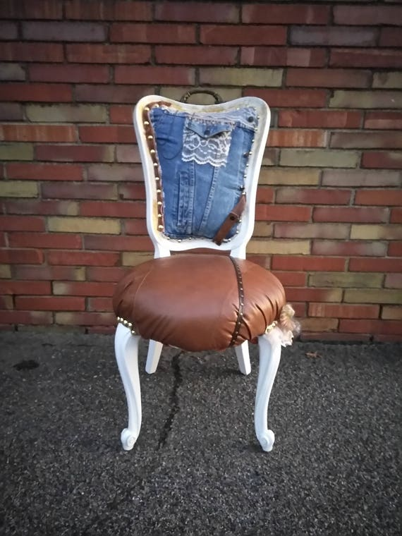 Denim Leather and Lace Accent Chair