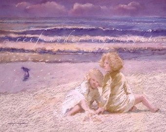 Beach print, two girls, children, figures, seashore, ocean, shore bird, lavender, pink, purple, art, beach scene, sisters, blonde girls, art