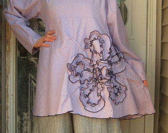 Bias Flower Tunic Shirt
