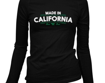 Women's Made in California V2 Long Sleeve Tee - S M L XL 2x - Ladies' California T-shirt, Los Angeles, San Francisco, San Diego - 3 Colors