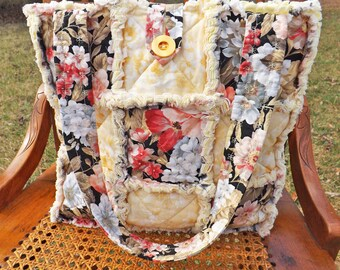 Rag Quilt Tote - Yellow, Coral, Beige, Pink Floral Tote - Handmade - Handbag