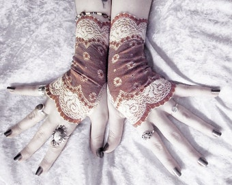 Dirigible Lace Fingerless Gloves - Burgundy Brown & Ivory Cream Embroidered - Gothic Wedding Fetish Tribal Bellydance Tea Airship Goth