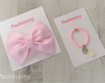 Adorable Fabric Pink Hair Bows, girl hair bows,baby hair bow, Packininny hair bow, Big hair bows, With Bead Charm Bracelet, 6 Colors to Pick