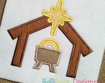Christmas Applique - Manger Applique - Holiday Applique - Religious Applique - Christmas Embroidery - Applique Design - Embroidery Design