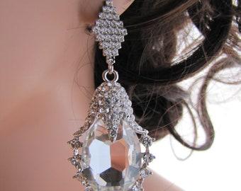 Large statement earrings, glamorous earrings, cubic zirconia diamond shaped earrings with large dropped rhinestone - Theresa