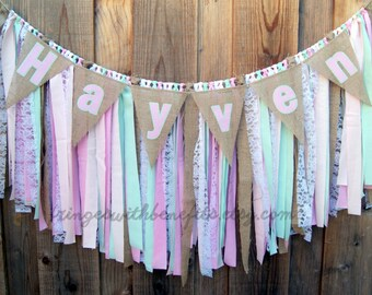 Pink Mint Lace Burlap Shabby Chic Fabric Rag Tie GARLAND & NAME BANNER, Fabric Banner, Boho Birthday, Baby Shower Decor, Nursery Decor