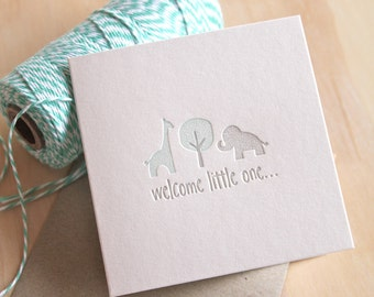 New baby boy, baby card, congratulations baby card, Welcome little one Letterpress pastel blue and silver with giraffe and elephant