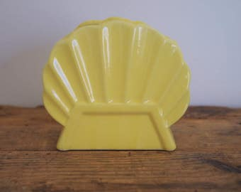 1950s Shell Planter, Vintage Yellow Shell Shaped Planter, Desk Organizer