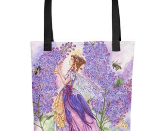 Lilac Fairy Art Tote bag by Meredith Dillman, Art tote, Fantasy tote, Lilac flowers