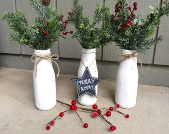 """Custom Rustic Holiday Christmas Painted 6"""" Milk Bottle w/ twine, frosted evergreens & berries, chalkboard tag, holiday decor"""