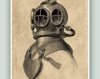 Nautical art, Scuba diver print, Diving poster, Scuba dive Helmet, beach cottage decor, Old diver helmet scaphander, diving school decor