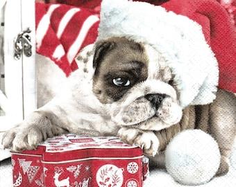 715 Santa dog pattern 4 X 1 towel paper 33 X 33
