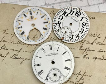 Vintage Porcelain POCKET Watch Faces- (3) for Steampunk and Altered Art Numbers Watch Dials- D20