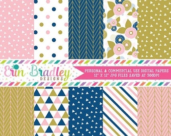 80% OFF SALE Digital Paper Pack Pink Blue Gold Digital Papers with Triangles Floral Polka Dotted Striped & Herringbone Patterns