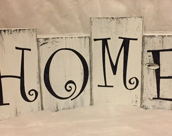 Rustic distressed letter block sign