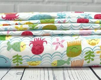 Flannel Fabric - Fishing School Fabric - Riley Blake Designs - Nautical Fabric - Fish Fabric