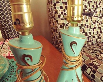 Vintage Turquoise and Gold Atomic Bedroom Lamps ********Free Shipping