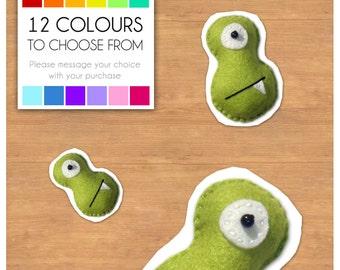 "Mini Felt Monster Plush Toy by BABUA - ""Moe"" - 12 Colors"
