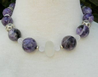 Purple Beauty, Chevron Amethyst, Frosted Glass & Lucite Beads, 6 Sterling Silver Beads, Matching Earrings, Necklace Set by SandraDesigns