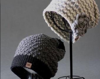 CROCHET PATTERN Montgomery Crochet Slouchy Hat Pattern - Crochet Pattern - Crochet Slouch Hat Pattern - Crochet Pattern Sizes Baby to Adult