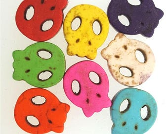 8 skull, skull, head skull, skull multicolored magnesite beads Halloween #Z1002 15x13mm