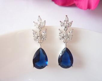 Art Deco Earrings Sapphire Earrings Great Gatsby Earrings Art Nouveau Earrings Bridal Earrings Wedding Earrings Vintage Earrings Downton