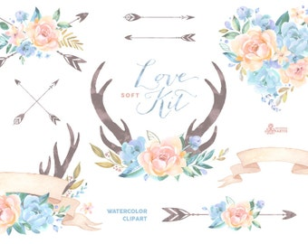 Love Kit Soft. Watercolor Clipart, peonies, arrows, antlers, heart, bouquets, wedding, blue, floral, card, diy clip art, flowers