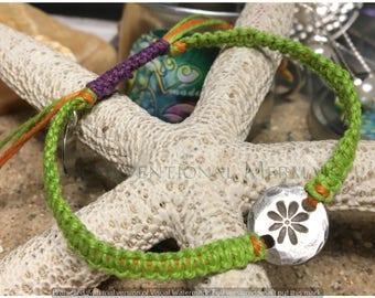 Adjustable Fine Silver Flower Rustic Pirates Coin Macrame Hemp Bracelet