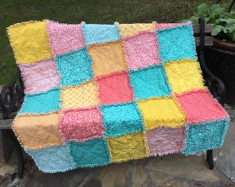 Caribbean Colors rag quilt, baby quilt kit, baby blanket kit, coral quilt, turquoise quilt, yellow quilt, No. Q201804