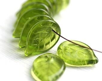 Large leaf beads Olive green leaves Olivine czech glass beads big size flat leaf pressed beads 18mm - 12Pc - 1278