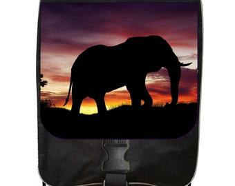 Elephant Sunset Silhouette - Black School Backpack