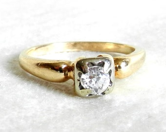 Vintage Antique .25 Ct Engagement Ring, Quarter Carat Mine Cut Diamond Engagement Ring, 14K Gold & Platinum