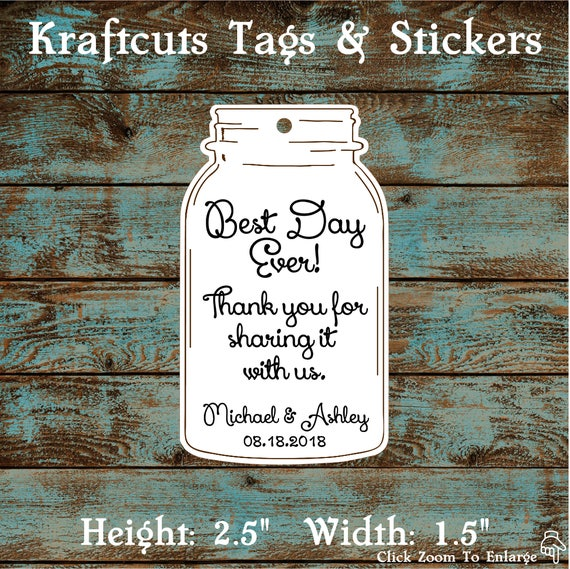 Favor or Gift Tags - Mason Jar Best Day Ever #692 - Quantity: 30 Tags