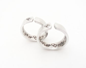 Mother/Daughter Ring Gift Set, My Mother, My Friend, My Daughter, My Friend. Custom Stamped Rings, Friendship Rings, Gift For Her