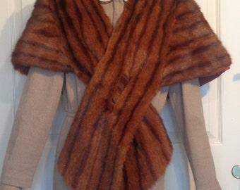 Vintage Red Brown Fur Stole Scarf Wrap