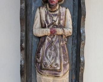 Vintage Mexican Religious Folk Art Santo