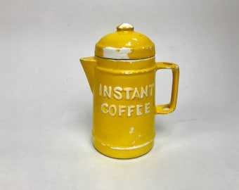 50s Yellow Ceramic Instant Coffee Container Vintage Jar Knobler made in Japan 60s 1960s Sixties porcelain 50s 1950s fifties hostess gift