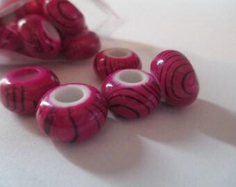 25 Dark Pink Zebra Euro Beads