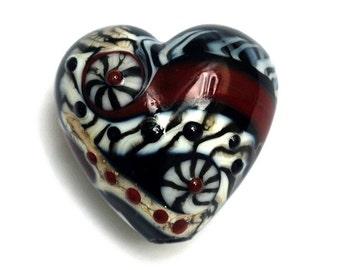 Dakota Quilt Heart Focal Bead 11834105 - Handmade Glass Lampwork Bead