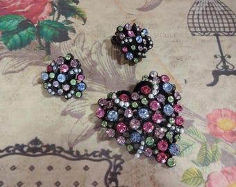 Heart Pin and Earrings