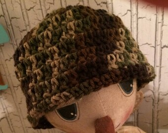 Crocheted Camo Baby Cap